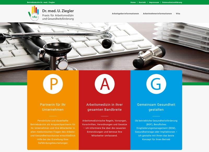 Detailansicht Website - Betriebsarzt Ziegler