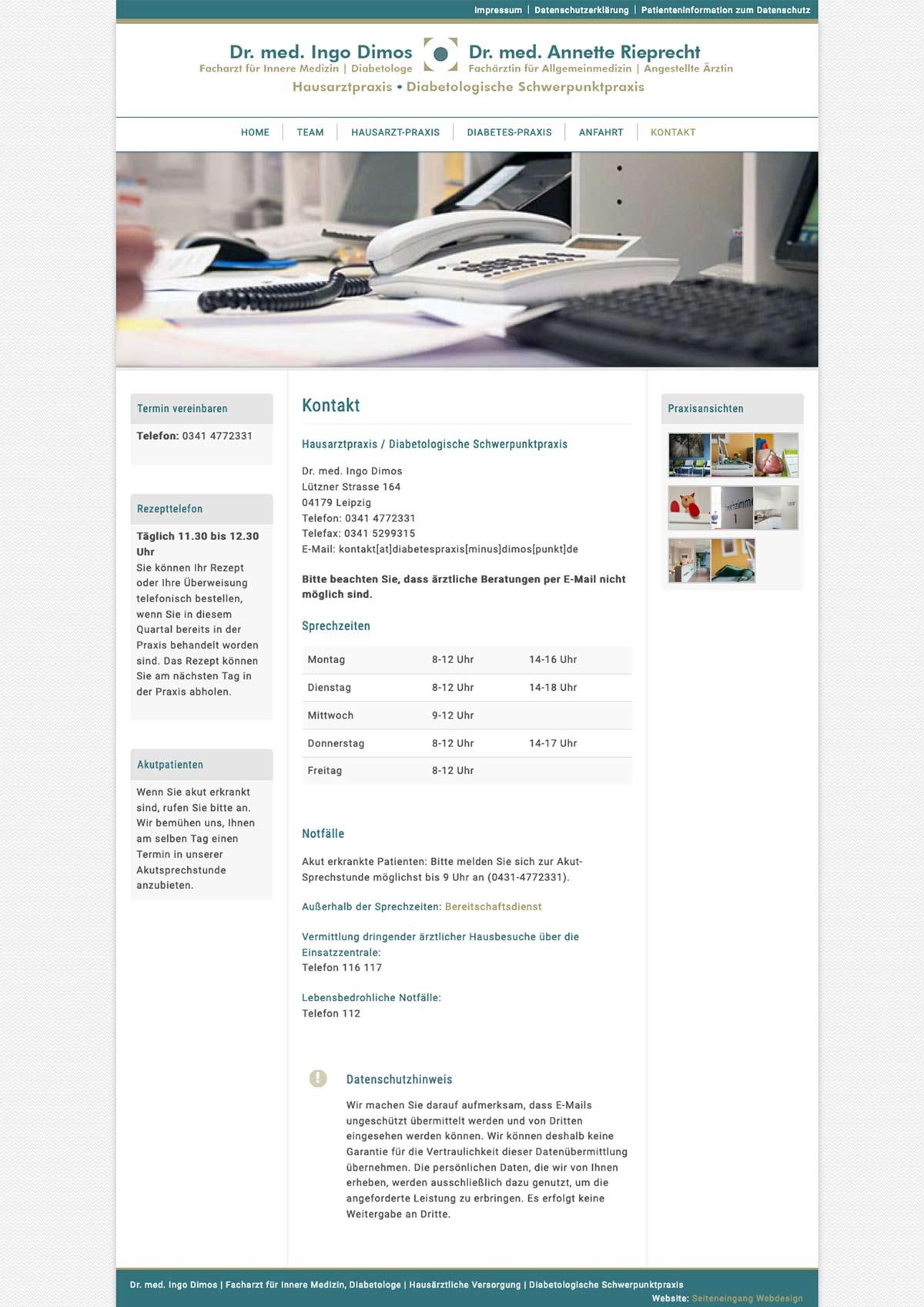 Screenshot Kontaktseite Arzt
