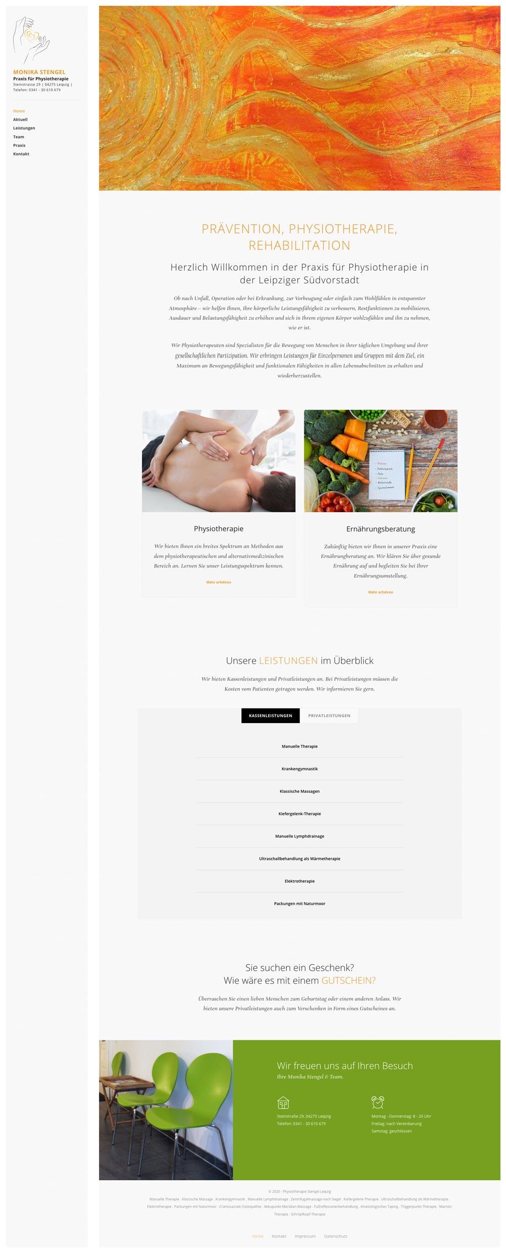 Abbild der Webseite für die Physiotherapie Praxis Monika Stengel
