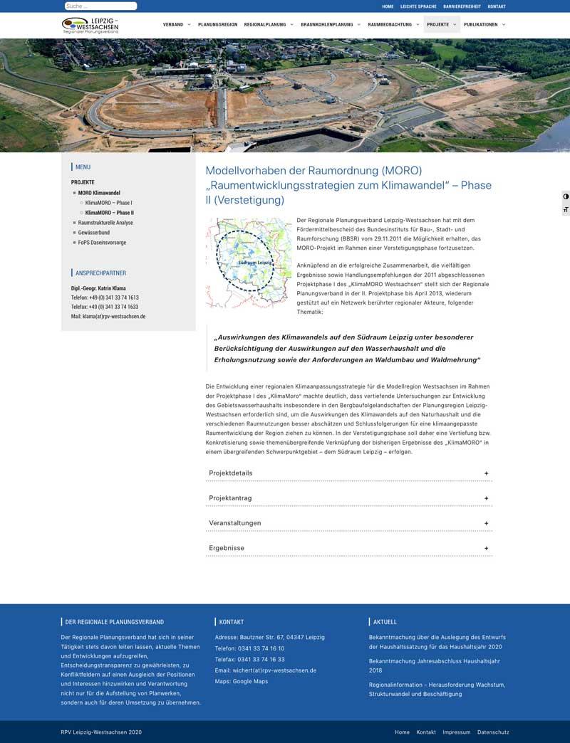 Screenshot der Website RPV Leipzig-Westsachsen