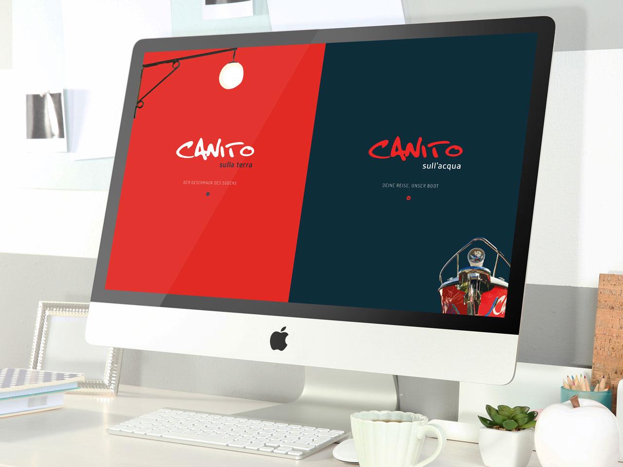 Bildschirm mit Homepage von Canito Leipzig