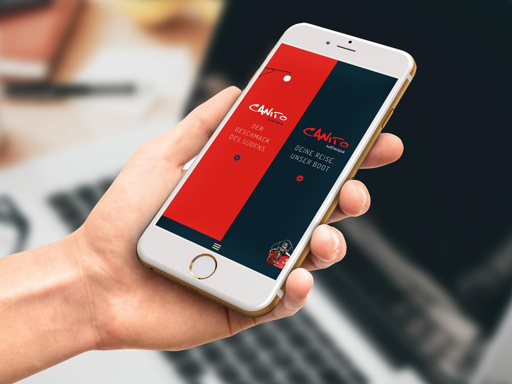 Handy mit Homepage von Restaurant Canito Leipzig